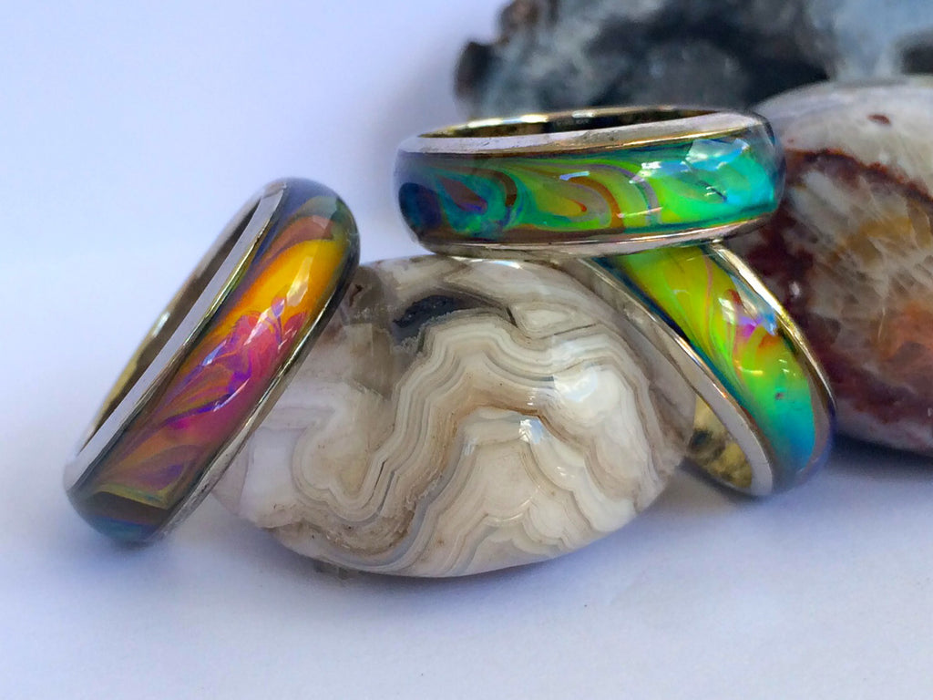 3x Opalescent Pattern Mood Rings