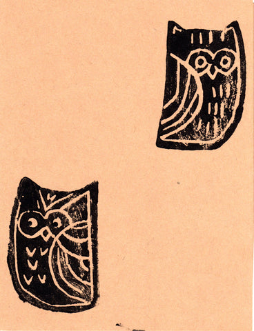 Two Small Owls Blank Note Card