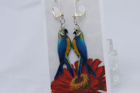 Parrot Shrink Plastic Earrings