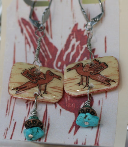 Cave Bird 1 Shrink Plastic Earrings