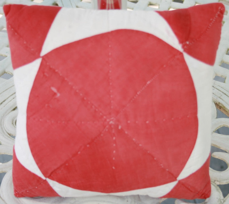 Small Red and White Quilt Top Pillow