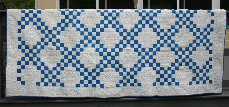 "90""X108"" Blue and White Quilt"
