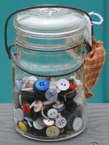 Small Canning Jar with Glass Lid and Buttons