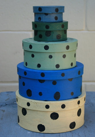 Set of 5 Polka Dot Boxes