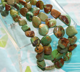 "16"" Double Strand Green Turquoise Bead Necklace"