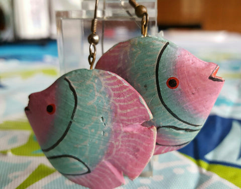 1970s Wood Tropical Fish Pierced Earrings