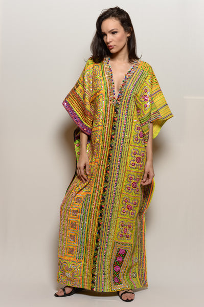 Long One of a Kind Hand Embroidered Dress-Warm Neon Poncho Dress - FESTIVALUNIVERSE
