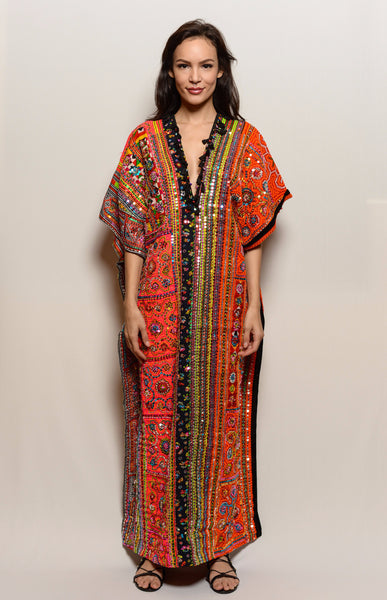Long One of a Kind Hand Embroidered Dress-Orange Poncho Dress - FESTIVALUNIVERSE