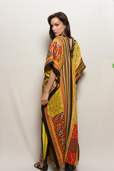 Long One of a Kind Hand Embroidered Dress-Warm Yellow Neon Poncho Dress - FESTIVALUNIVERSE