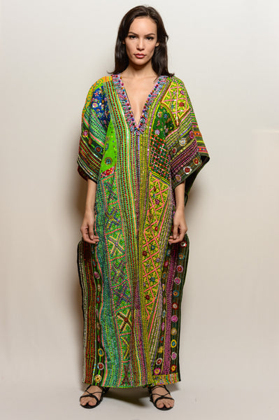 Long One of a Kind Hand Embroidered Dress-Warm Green Neon Poncho Dress - FESTIVALUNIVERSE