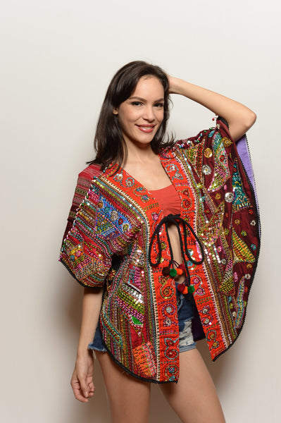 One of a Kind Short Orange Trim Embroidered Jacket - FESTIVALUNIVERSE