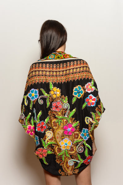 Women's Black Shawl with Embroidered Flowers - FESTIVALUNIVERSE