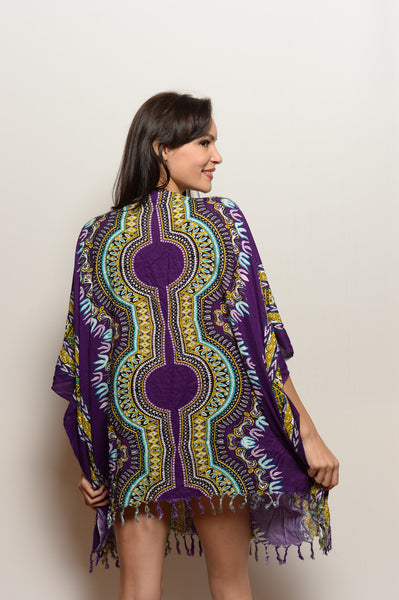 Unisex Hand Embroidered One of a Kind Purple Sparkle Kaftan - FESTIVALUNIVERSE