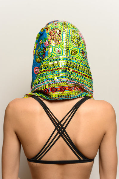 One of a Kind Hand Embroidered Green Hood with Secret Pocket - FESTIVALUNIVERSE