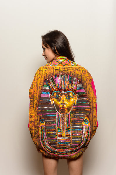 One of a Kind Pink Pharaoh Cosmic Shawl with Armholes - FESTIVALUNIVERSE