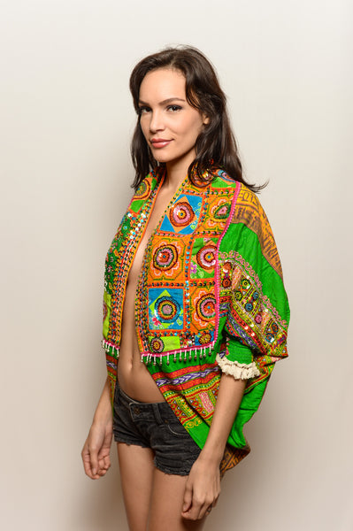 Hand Sequined Green Pharaoh Cosmic Shawl with Armholes - FESTIVALUNIVERSE