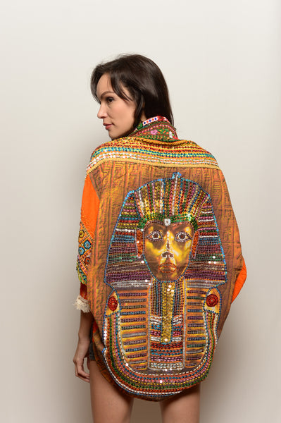 Women's Orange Hand Embroidered Pharaoh Shawl - FESTIVALUNIVERSE