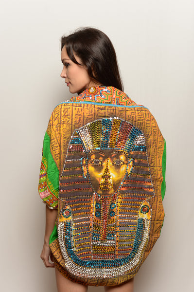 Women's Hand Sequined Embroidered Green Pharaoh Cosmic Shawl - FESTIVALUNIVERSE