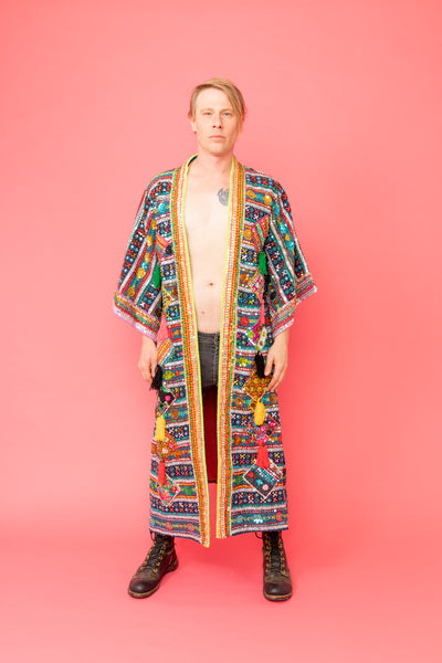 One of a kind Hand Embroidered Flower Kimono for Men or Women