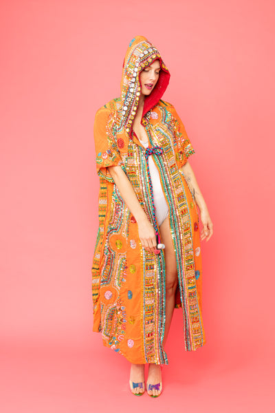 Bohemian Orange Hand Sequined  Long Coat with Hood