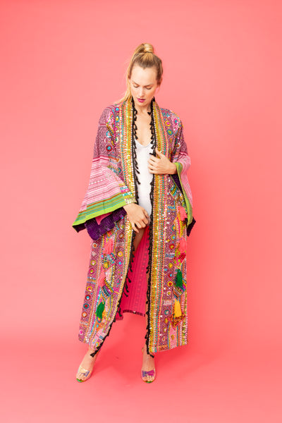 Unisex One of a kind Hand Embroidered Pink Kimono