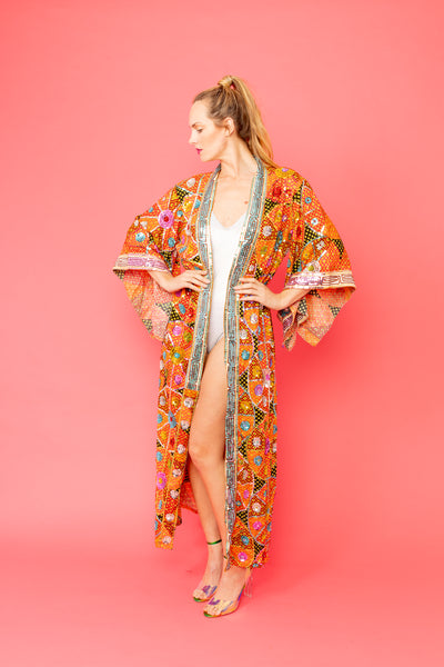 One of a kind Hand Embroidered Kimono for Men or Women