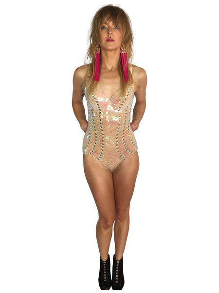 White Night Sequin Playsuit - FESTIVALUNIVERSE
