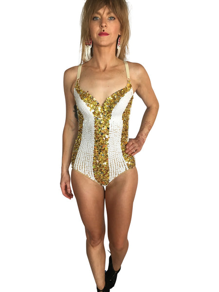 Gold & White Playsuit - FESTIVALUNIVERSE