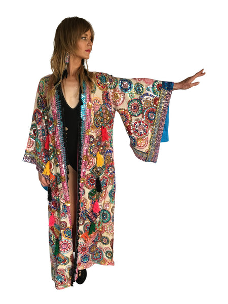 Unisex One of a kind Hand Embroidered Kimono - FESTIVALUNIVERSE