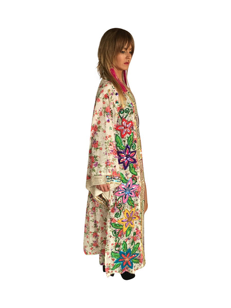 Unisex One of a kind Hand Sequined White Kimono - FESTIVALUNIVERSE