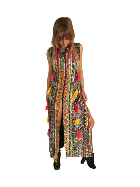 Sleeveless Long Hand Embroidered Vest - FESTIVALUNIVERSE