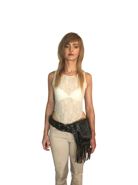 Leather Belt Pouch with Tassels & Studs - FESTIVALUNIVERSE