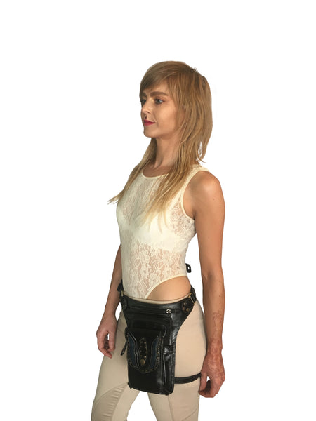 Soft Leather Leg Holster and Cross Body Bag in One - FESTIVALUNIVERSE