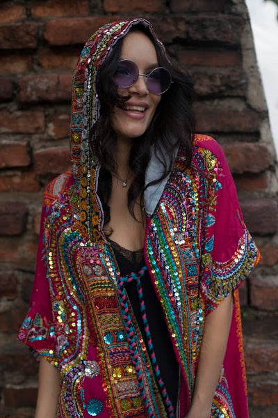 Long Pink Hand Sequined  Festival Dream Coat with Hood - FESTIVALUNIVERSE