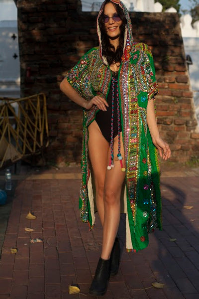 Bohemian Hand Sequined  Green Cloak - Festival Dream Coat with Hood - FESTIVALUNIVERSE