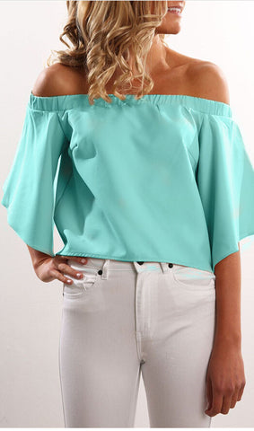 Off The Shoulder Slit  Chiffon Top