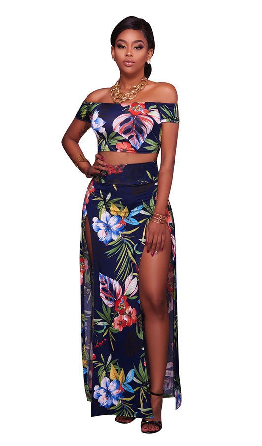 Floral Top And Skirt Two Pieces Set