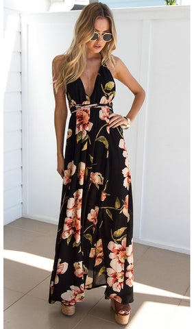 Floral Backless Slit Maxi Dress