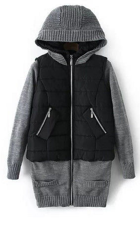 Sweater Splicing Hooded Coat
