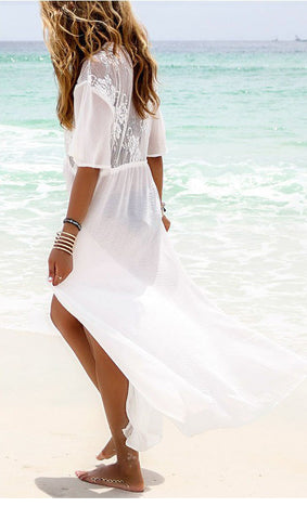 Lace Splicing Chiffon Cover-up