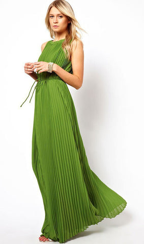 Green Sleeveless Maxi Dress