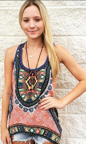 Bohemian Print Sleeveless Top