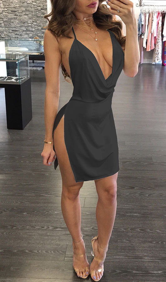 Deep V Neck Slit Backless Dress