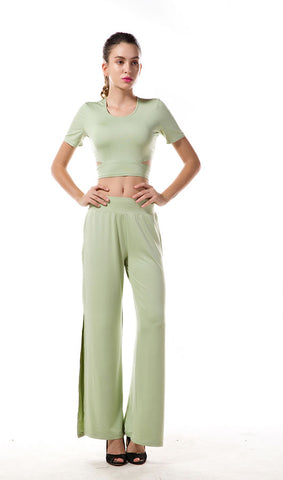 Green Top And Slit Trousers Two Pieces Set