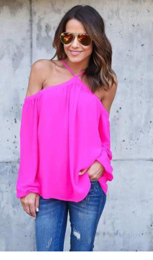 Romoti Chiffon Halter Off The Shoulder Top