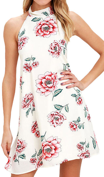 Backless Floral Halter Mini Dress