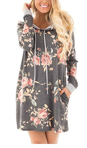 Floral Hoodie Sweatshirt Dress