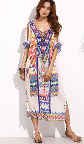 Bohemian Lace Up Loose Maxi Dress
