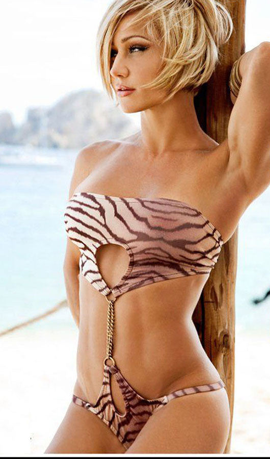 Leopard Print  Strapless One Piece Swimsuit