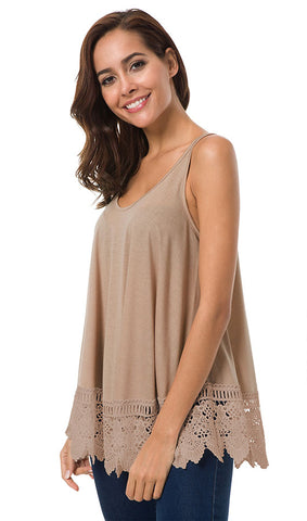 Lace Hem Sleeveless Top